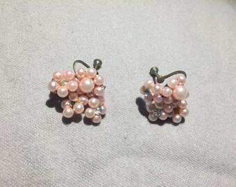 Vintage Retro Pink Cluster Earrings with Rhinestones