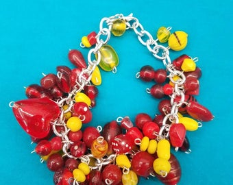 Red and Yellow Bead Cluster Bracelet