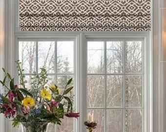 faux roman shades and valances in waverly gray u0026 white lattice print 100 cotton
