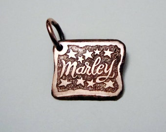 Pet ID Tag,  Cat Tag,  Bridle Tag,  Hand Stamped, Natural Cooper