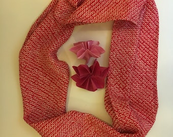 Red and white Japanese silk scarf