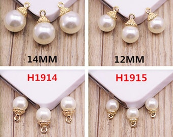 10pcs/lot 8mm-14mm Diy Jewelry Making Alloy Painting Charm, Pearl Charms Pendants,Fit for Necklace/Bracelet/Phone/Hair Ornaments Accessories