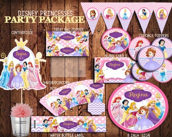 Disney Princesses Party Package,PERSONALIZED,  Water Bottle Labels, Cupcake Toppers, Treat Bag Topper,  Princesses  Party  Pack