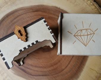 Trinket Box / Diamond / Diamond Trinket Box / Wooden Box / Laser Engraved Box / Jewellery Box / Gift Box