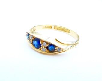 Victorian sapphire & diamond ring, sapphire and diamond boat ring, vintage sapphire ring, antique sapphire ring, victorian engagament ring
