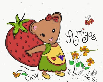 Little Mouse and Strawberry-Friends (amigos)