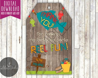 Fishing Birthday Favor Tags, Fishing Party Goodie Bag, The Big One First Birthday - Printable DIY