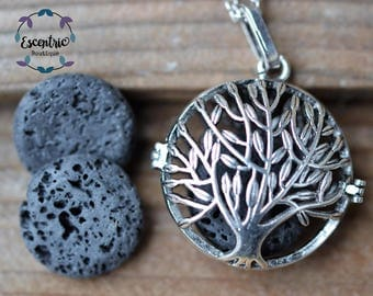 Tree of Life Double Sided Locket // Lava Stone Essential Oil Necklace//Aromatherapy Necklace // With a Choice of Essential Oil (12 Variety)