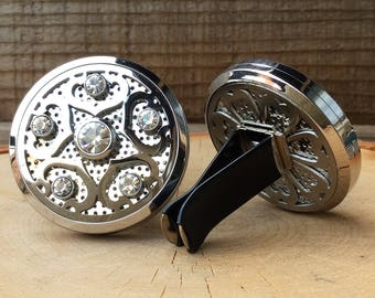 Car Vent Diffuser // Rhinestone Stainless Steel 38mm Locket // Aromatherapy// With a Choice of Essential Oil (12 Variety)