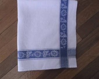 Vintage Swedish Jacquard Linen Kitchen Towel in Blue and White
