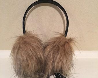 Faux Fur Earmuff Headphones; Cozy and Fuzzy; Audio jack built-in