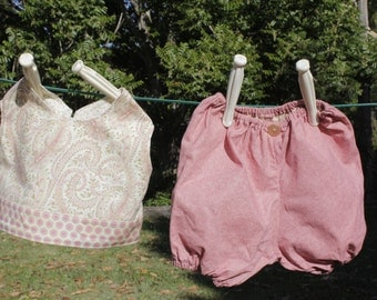 Pink paisley top and bloomers