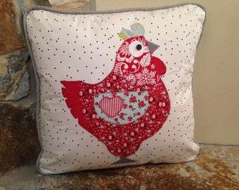 Chicken Hen Applique Pillow