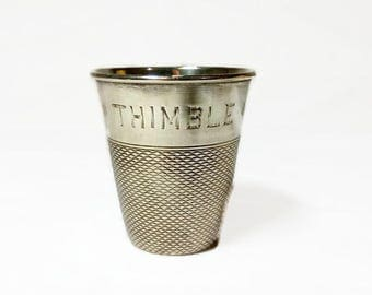 Vintage English Silver plated ,Thimble,drinks measure, bar ware