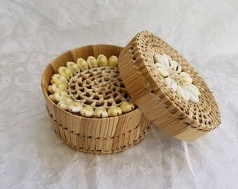 Vintage woven seashell storage basket with 5 woven seashell coasters, wicker