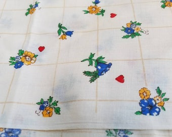 FREE SHIPPING - Vintage Friend Fabrics brand fabric, floral, blue, yellow, and green, red hearts
