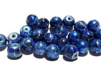 Dark Blue Round 8mm Glass Beads - 25pcs