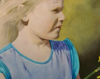 Original portrait drawing of girl in coloured pencil art - 'Girl with Daffodil'
