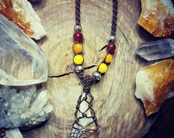 Citrine Sunrise Macrame Crystal Necklace with Karen Hill Tribe Silver & Crystal Beads
