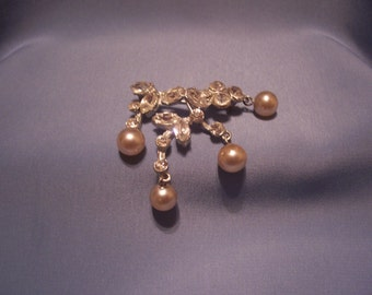 Vintage Rhinestone Brooch with Faux Pearl Dangles
