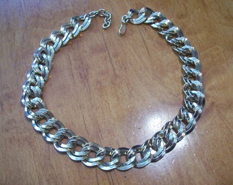 Monet Chunky Double Link Gold Plate Necklace