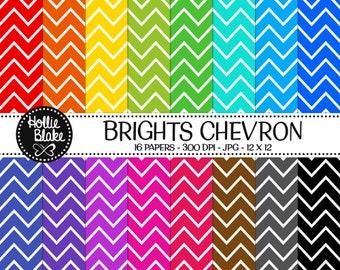Buy 1 Get 1 Free!! 16 Bright Chevron Digital Paper • Rainbow Digital Paper • Commercial Use • Instant Download • #CHEVRON-101-2-B