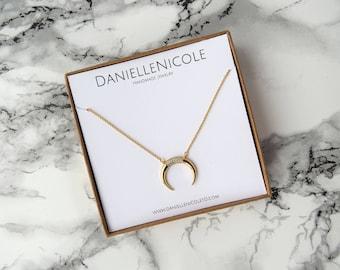 CZ Horn Necklace, Pendant Necklace, Statement Necklace, Everyday Jewelry, Layering Necklace, Boho Jewelry, Boho Chic, Statement Jewelry