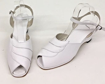Lauren White Wedge Sandals