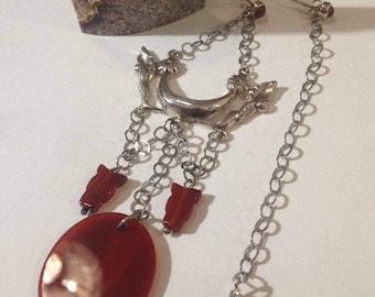 asymmetrical earrings in Silver 925 with carnelian and Jasper