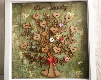 Family tree scrabble photo frame