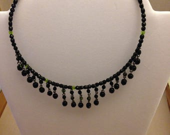 Vintage Wired Black Beaded Necklace