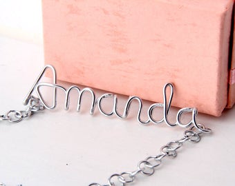 Personalized Name wire Necklace Custom Name Necklace best friend necklace mother of the bride gift Birthday Gift