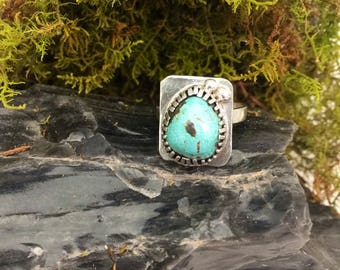 Turquoise and Silver everyday piece for your turquoise collection Ring sz 7 - December Birthstone