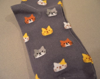 Cute Cat Socks (Muted Purple)