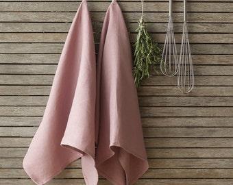Dusty Rose Linen Tea Towel,Natural Linen Dish Towel,Rose Linen Kitchen Towel,Pure Linen Dishcloth, Handmade Linen Tea Towel,Kitchen Linens