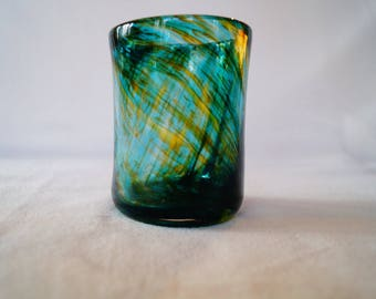 21 - Unique hand-blown drinking glass tumbler cup aqua and gold pattern