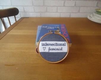 Intersectional Feminist cross stitch hoop art