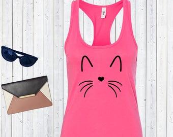 Cat Face Outline Tank Top. Kitty Shirt. Custom Tanks. Pet Shirts. [Q0108,Q0107]