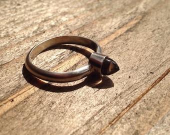 Ring, ladies, smoky quartz, brown, sterling silver 925, handmade, 17, 5 mm, bullet shape, bullet shape, gemstone, natural stone, 5 mm