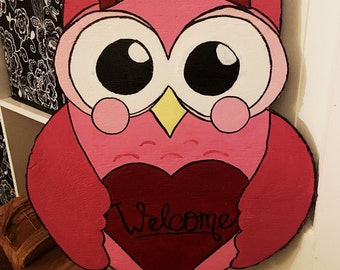 Reversible Owl Valentines/ St. Patricks Day Wood Cut Out