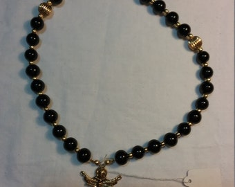 Black Glass Pearl and Gold Rosary Paternoster Prayer Beads