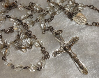 Vintage Chapel Sterling Silver Crystal Glass Bead Catholic Rosary Necklace