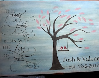 Wood sign | Family tree | Love | Wedding | Anniversary | Couple | Valentines | Spiritual | Husband | Wife | Rustic | 5th Anniversary Gift