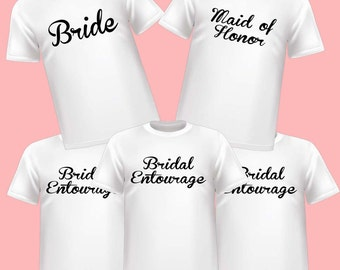 White Bridal Party Bride, Maid of Honor and Bridal Entourage  Wedding Shirts 5 Pack