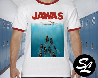 NEW Jaws Star Wars Mashup Parody Jaws Red Ringer Unisex Tee Shirt All Sizes Darth Vader Light Saber Storm Trooper