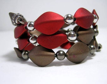 Red Brown Memory Wire Wrap Bracelet