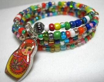Matroyshka Charm Bead Memory Wire Wrap Bracelet