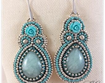 Blue rose earrings, ooak handmade.
