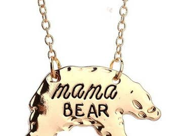 Engravable Mama Bear Necklace Gold