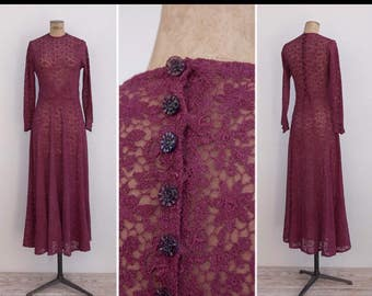 Vintage 30s Wine Lace Dress ( extra small )
